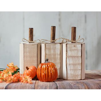 Distressed White Pumpkin Decor, Grey Gray Pumpkin