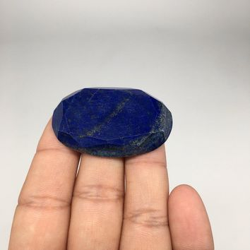 "15.8g, 1.8""x1.1"" Natural Lapis Lazuli Oval Faceted Cabochon @Afghanistan,CP37"