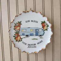"Vintage Florida Souvenir Plate ""God Bless Our Motorhome"" Made in Japan , Wall Hanging Plate , Vintage RV Motorhome Display Plate"