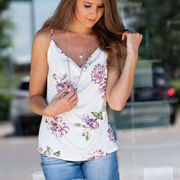 Sweet Spot Floral Tank: Ivory