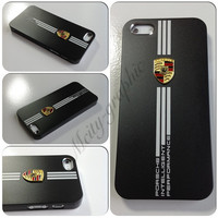 Custom iPhone 5 Case PORSCHE Series Sport Car Carbon Aluminum metallic Cover  - Black