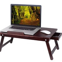 BirdRock Home Bamboo Laptop Bed Tray (Walnut)| Multi-Position Adjustable Surface | Pull Down Legs | Storage Drawer