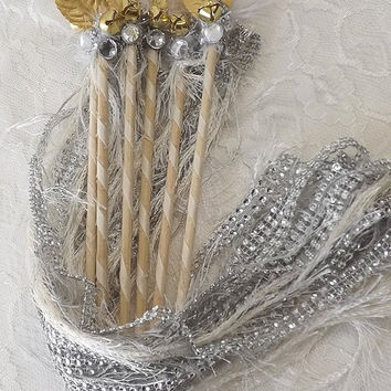 6 Deco Wedding Wands, Gatsby Style Feather & Fun Fur Bling Bridal Package, Bridesmaid and Flower Girl Bouquet Alternative, Table Decor