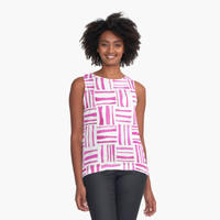 'Pink Woven Watercolor' Contrast Tank by DoucetteDesigns