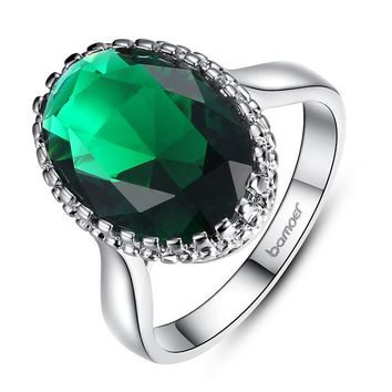 Silver Color Elegant Green Big Stone Ring with Paved Created Gemstone Jewelry for Women Party and Wedding YIR182