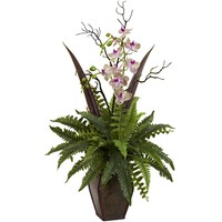 Artificial Flowers -Fern And Orchid Arrangement Artificial Plant