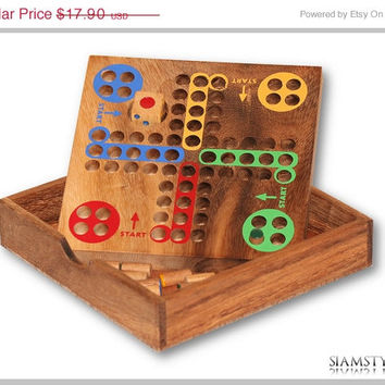 On Sale Ludo Classic wooden game, Mensch ärgere dich nicht, wooden toys, family games, fun