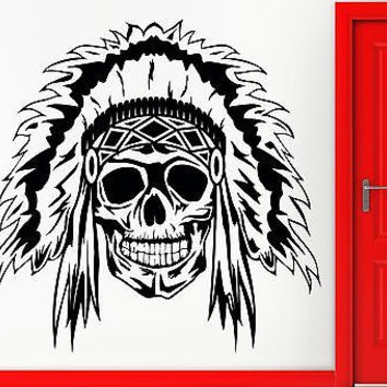 Wall Sticker Vinyl Decal Indian Skull Scary Creepy Horrow Decor (z2398)