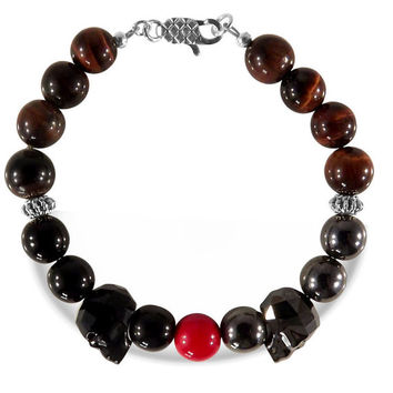 Red Tiger Eye Bracelet, Agate, Hematite, Czech Glass bead, Swarovski Crystals Skulls, Skull Bracelet, Gemstone beads, Men's Beaded Bracelet