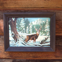 Vintage Paint by Number, Deer in Winter Scene PBN