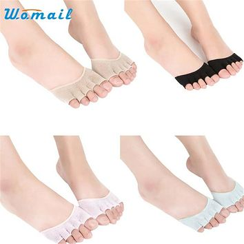 Womail Dancing Poppy Women Invisible  Backless Toe Socks Half Grip Heel Five Finger Socks