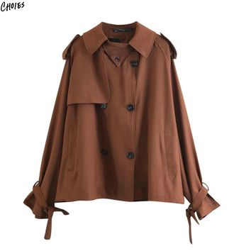 Brown Double Breasted Trench Coat Women Long Sleeve Tied Cuffs Pockets Side Asymmetric Epaulet Turn Down Collar Outwear