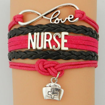 Infinity Love Nurse Charm Bracelet- Custom Fuchsia with Black Bradied Leather
