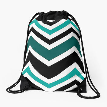 Black and Turquoise Chevron Zig Zag Pattern by shabzdesigns