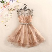 A 082609 Sweet And Elegant Crochet Butterfly Organza Dress