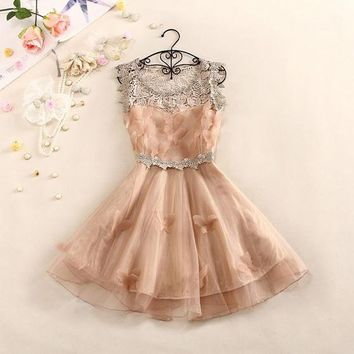 Sweet And Elegant Crochet Butterfly Organza Dress A 082609 BB