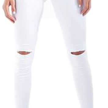 Women's Casual Skinny Jeans with Ripped Knees