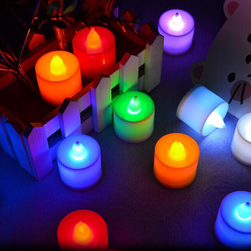 2PCS romantic Polypropylene Plastic 6 Colors Candle Shape LED Fliker Flameless Candle Light For Wedding Party Holiday Decoration