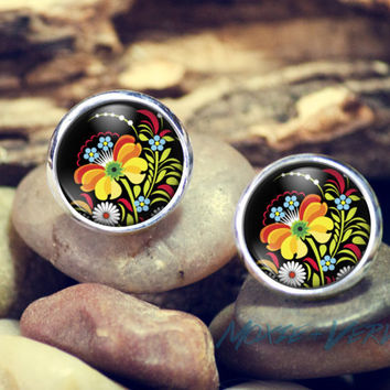 Russian Folk Art Stud Earrings, Multiple Designs, Round Glass Earrings, Dome Glass Earrings, Metal Studs