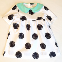 Girls toddlers polka dot dress with leather peter pan collar