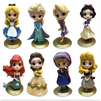 14cm Gold Princess Mermaid  Doll Snow white Rapunzel Princess Action&Figure Toy KID Girls Christmas Gift