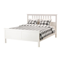 HEMNES Bed frame White stain/luröy Standard Double - IKEA