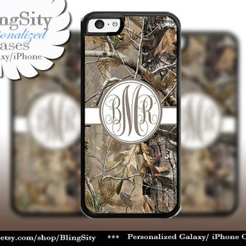 Camo Blue Monogram iPhone 5C 6 Plus Case iPhone 5s 4 case Ipod Realtree Cover Personalized Country Inspired Girl