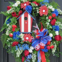 Patriotic Wreaths, July 4 Door Wreaths, Silk Flowers, Handmade Americana Wreaths, Spring Summer Wreaths,  Red, White, Blue Striped Birdhouse