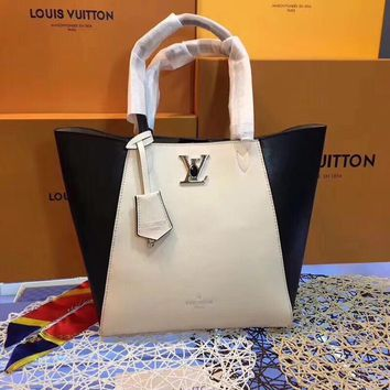 DCCK  L029 Louis Vuitton LV Particles Taurillon calfskin handbag 43-28-17cm White Black