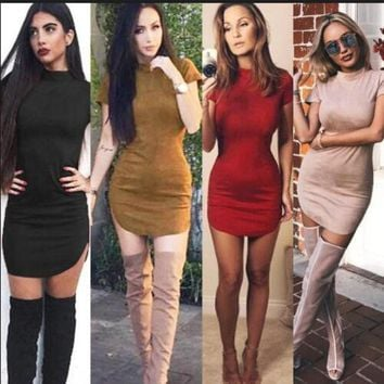 LMFONI Fashion Suede Tight Short Sleeve Bodycon Mini Dress
