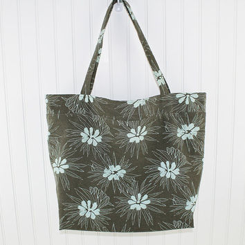 Blue Modern Floral on Brown Large Tote Bag, Farmers Market Bag, Reusable Grocery Bag, MK121
