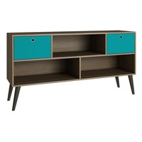 Uppsala TV Stand Oak/ Aqua/ Grey