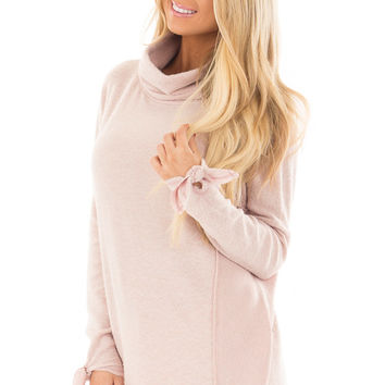 Blush Turtle Neck Top with Textured Contrast