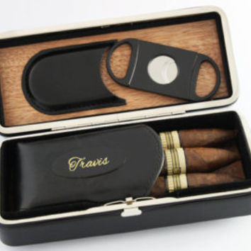 Groomsmen Gifts Black Folding Personalized Cigar Case Groomsmen Gift Gifts for Men Christmas Gift Fathers Day Customer Engraved Cigar Case