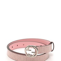 GUCCI Children's interlocking G buckle belt enamel leather pink Kids