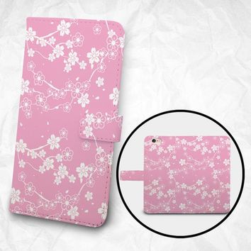 iPhone X/8/8 Plus case Samsung Galaxy S9/S9+ case Note 5 4 3 PU leather flip cover Book Phone case Wallet case - Pink White flowers