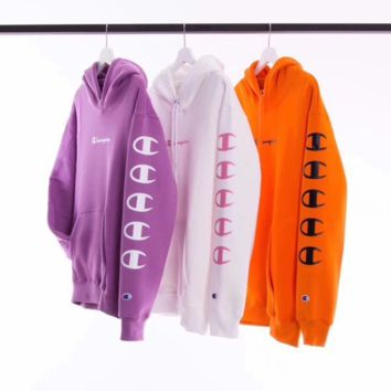 Men and women plus cashmere hooded sweater printing long-sleeved jacket classes sweater embroidery armbands