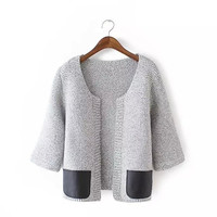 Flawless Women Sweater Leather Pocket Short Paragraph Knit Cardigan = 1695610436