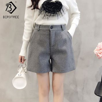 Korean Winter Short Women Black Gray Straight Female Short Casual Ladies High Waist Pantalones Plus Size 3XL New Arrival B7O704A