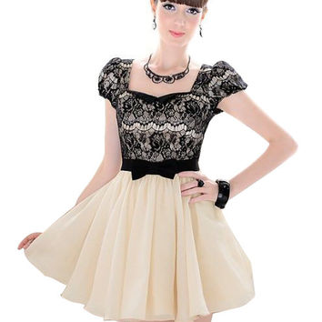 Nice quality & Promotion for 30 days!!! Fashion womens dress beige vintage dress with lace and short sleeves, size S, M, L, XL