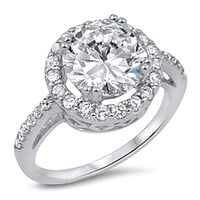 Big 3 Carat Cubic Zirconia Halo Engagement Ring in Sterling Silver