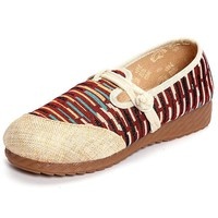 Stripe Chinese Knot Vintage Color Blocking Flat Loafers For Women