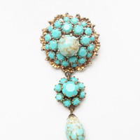 Victorian Turquoise Pendent Brooch
