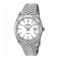 ROLEX DATEJUST 41 STEEL AND WHITE GOLD WHITE STICK DIAL JUBILEE BRACELET 41MM