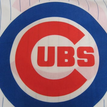 Vintage Baseball Chicago Cubs MLB Standard Size Pillowcase Sports Kids Bedding Boys Bedding Craft Fabric Used Clean