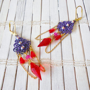 Purple & Red Crystals Chandelier Earrings