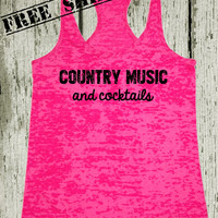 Country Music and Cocktails. Southern Girl Tank Top. Pink Tank Top. Southern Country Shirt. Fitness Tank. Southern Clothing. Free Shipping