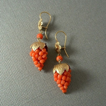 Antique Victorian CORAL Earrings GRAPE Cluster Dangles Gold Gilt STERLING Cannetille Filigree Earwires c.1900s