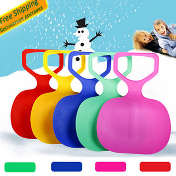 Outdoor Winter Sports Plastic Grass Skiing Sled Board Snow Sledge Snowboard Ski Pad For Kids Adult Thicken Color Random