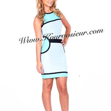 Vivian colorblock bandage dress